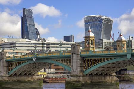 southwark: London skyline  City of London and Southwark bridge.UK.