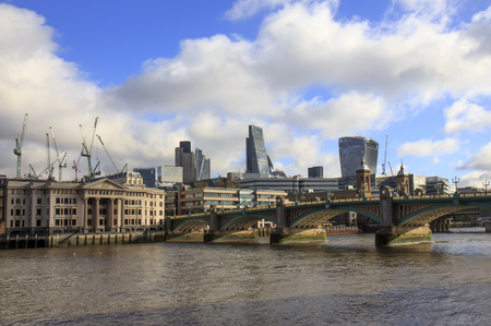 southwark: London skyline - City of London and Southwark bridge.UK.