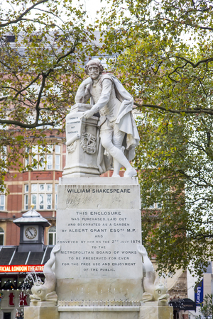 city centre: A statue of William Shakespeare sculpted by Giovanni Fontana has formed the centrepiece of Leicester Square Gardens London since 1874.