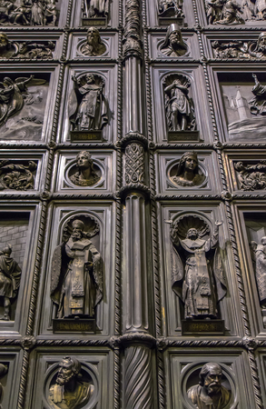 isaac: Great north door in Isaac cathedral - Saint Petersburg, Russia Stock Photo