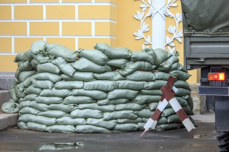 sack truck: Sandbag bunker of the military base