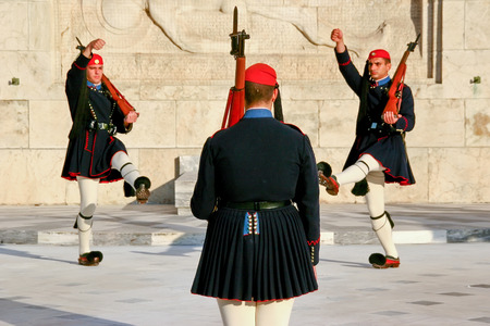 evzone: Evzone guarding the Tomb of Unknown Soldier in Athens dressed in service uniform, refers to the members of the Presidential Guard, an elite ceremonial unit. Editorial
