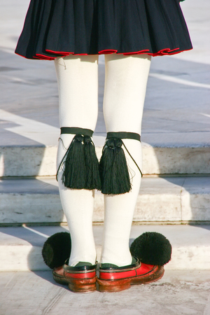 Evzoni Guard, Guardian in front of the Greek parliament building, Athens, Greece