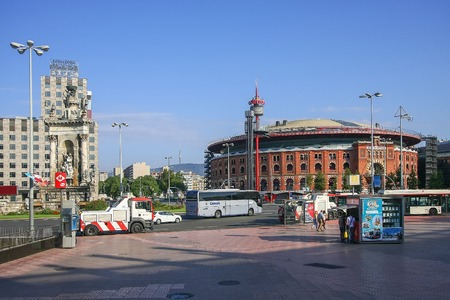 espanya: View of Placa De Espanya (Square of Spain) in Barcelona. Some of most important streets and avenues meet at here. Center of business and cultural life. Editorial
