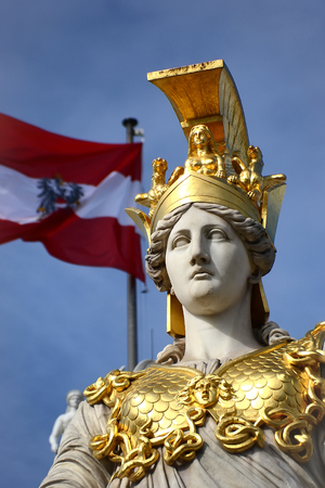 athene: Detail of Athena Fountain in front of Austrian Parliament Building in Vienna Stock Photo