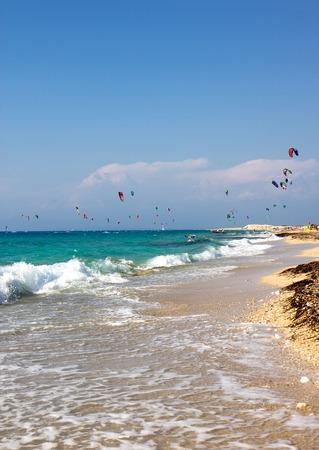 kiteboarding: kiteboarding in sunny day Stock Photo