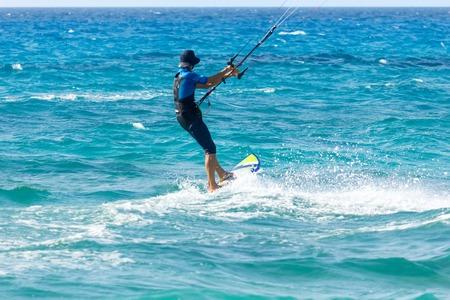 kiter: Kite surfer in action
