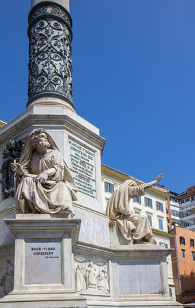 The Column of the Immaculate Conception stands in Piazza Mignanelli in front of the Spanish Embassy in Rome, and steps away from Piazza di Spagna.