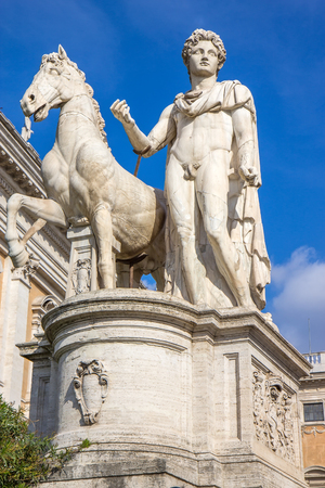 Statue of Pollux with his horse at Piazza del Campidoglio on Capitoline Hill, Rome, Italy