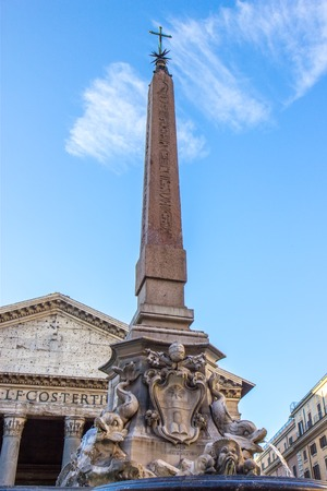 Fontana del Pantheonin the Piazza della Rotonda, Rome, in front of the Roman Pantheon.  Stock Photo