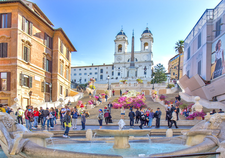 Spanish steps in Rome, Italy Editorial