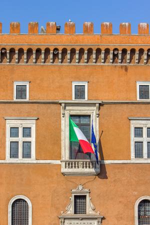 Il Palazzo Venezia, Roma, Italia - balcone dove parla Duce Benito Mussolini