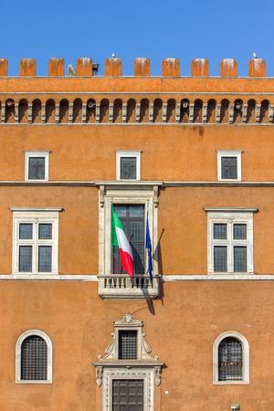 Il Palazzo Venezia, Roma, Italia - balcone dove parla Duce Benito Mussolini Editoriali