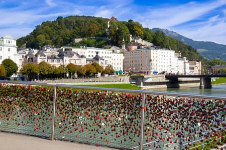 Padlock at Bridge at Salzach river in Salzburg - Austria