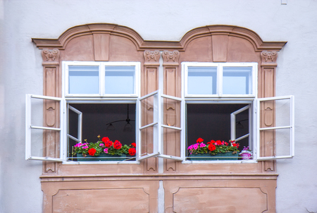 Old windows in Salzburg, Austria