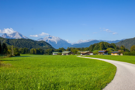 Beautiful view on the road and village in Austria Фото со стока