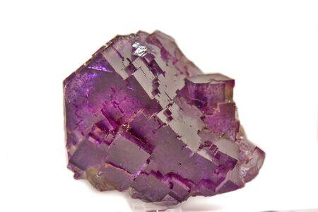 Isolated purple Fluorite mineral Banco de Imagens