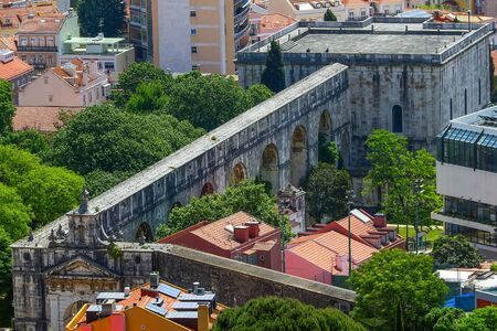 Panoramic aerial view of Lisbon, Portugal with aqueduct Archivio Fotografico - 131769814