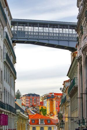 Santa Justa Lift in Lisbon. Famous landmark and entertaining touristic attraction with viewing platform upstairs Stock Photo