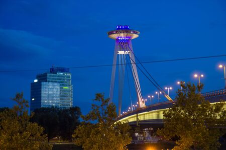 UFO tower restaurant in Bratislava by night