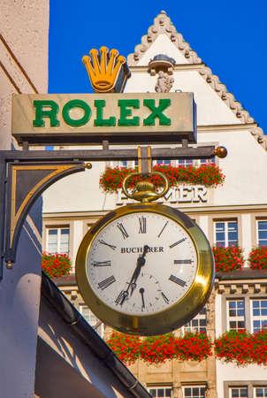 Rolex sign and watch in Munich 新闻类图片