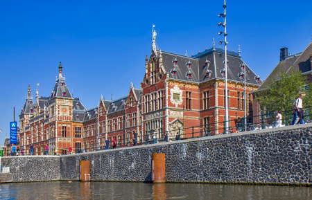 Detail of the Amsterdam central station building Editoriali