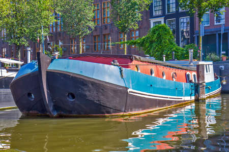 Boat on the river in Amsterdam