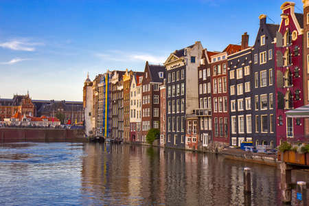 View on the canal and houses in Amsterdam
