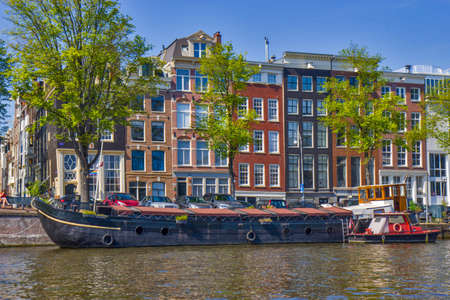 Ship on the river in Amsterdam