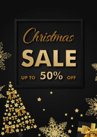 Christmas sale up to 50 percent off lettering with frame and decorations on dark background Stockfoto