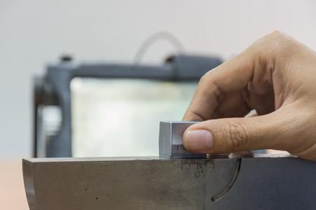 standard steel: Calibration angle probe of Ultrasonic scan with standard steel block