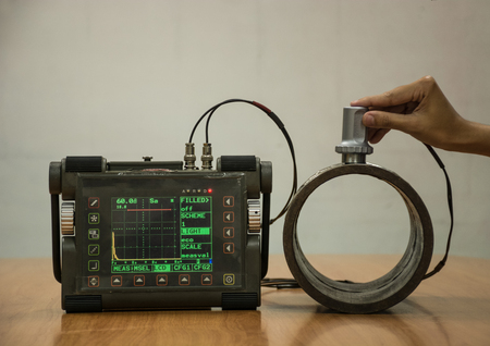 defect: Steel pipe inspection by ultrasonic test for found internal defect