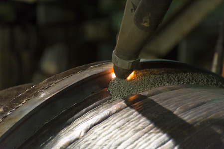 Overlay welding hard surfacing of steel roll by submerge arc welding process