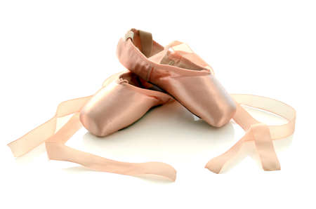 ballet: Ballet pointe shoes isolated on white background. Stock Photo