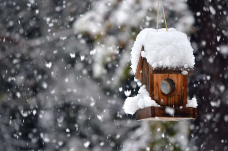 A snow covered bird house in winter with snowflakes falling down. photo