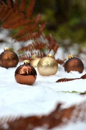 Golden and brown christmas ornaments in snow decorated with fern. photo