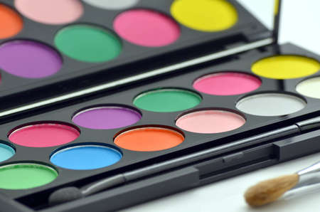 Make-up eyeshadow palette with makeup brush  photo