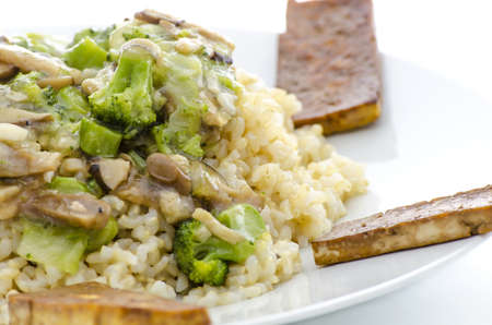 macrobiotic: A closeup of macrobiotic dinner made of rice, mushrooms,vegetable and tofu, served on a white plate