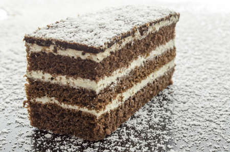 coconut sugar: A piece of cake on grated coconut flakes. Stock Photo