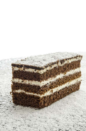 Dellicious cake on grated coconut flakes. photo