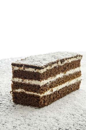 coconut sugar: Dellicious cake on grated coconut flakes.