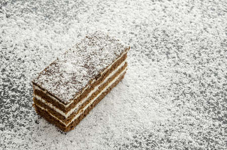 coconut sugar: Top view of delicious cake on grated coconut flakes