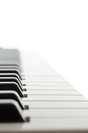 Side view of electronic piano keyboard keys  photo