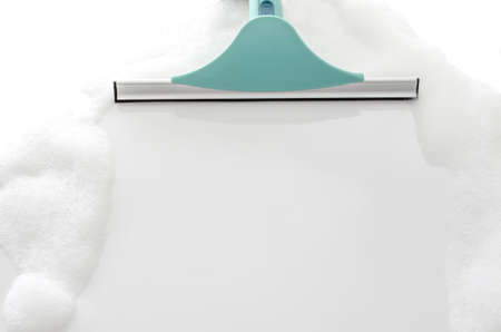 Closeup of cleaning white ceramic tiles with foam Stock Photo - 17072609