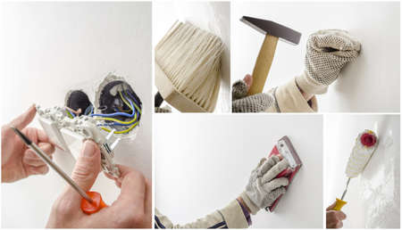 new construction renovation: Home renovation collage, a set of five photos  Stock Photo