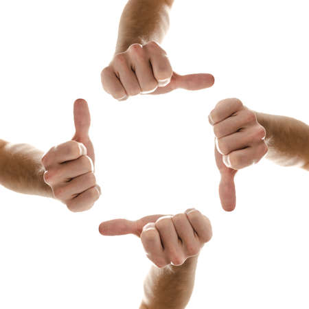 Hands in a circle with thumbs up sign  Isolated over white background  Stock Photo - 17508272