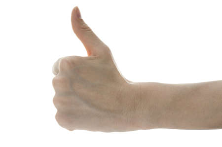 Side view of a female hand showing an ok sign  Isolated on a white background Stock Photo - 17508236
