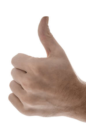 Side view of a male hand showing thumbs up  Isolated on a white background Stock Photo - 17508242
