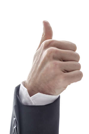 man's thumb: Bottom view of a business man s hand  with thumb up sign  Isolated on a white background
