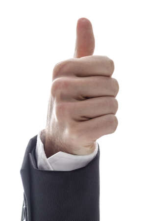Hand of a business man showing an ok sign  Isolated on a white background   Stock Photo - 17508282